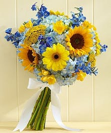 Bridal Bouquet Boston, MA - The gorgeous gathering of medium sunflowers, Gerberas, freesia, delphinium and hydrangeas sets the scene perfectly.
