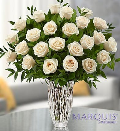 Premium White Roses in Boston, MA - Marquis by Waterford