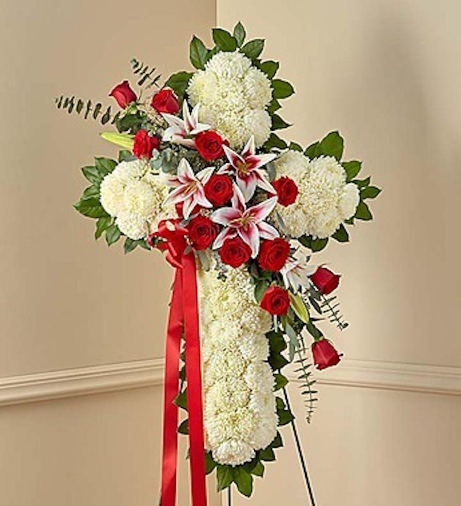 Red rose and lily standing cross in boston ma central square florist red rose and lily standing cross in boston ma izmirmasajfo