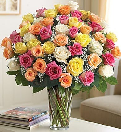 Long Stem Multi-Colored Roses in Boston, MA
