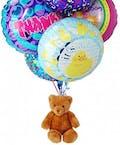 Teddy Bear with Six Mylar Balloons