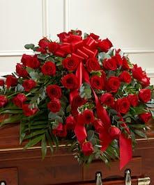 Red Rose Half Casket Cover in Boston, MA