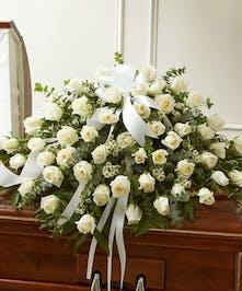 White Rose Half Casket Cover in Boston, MA