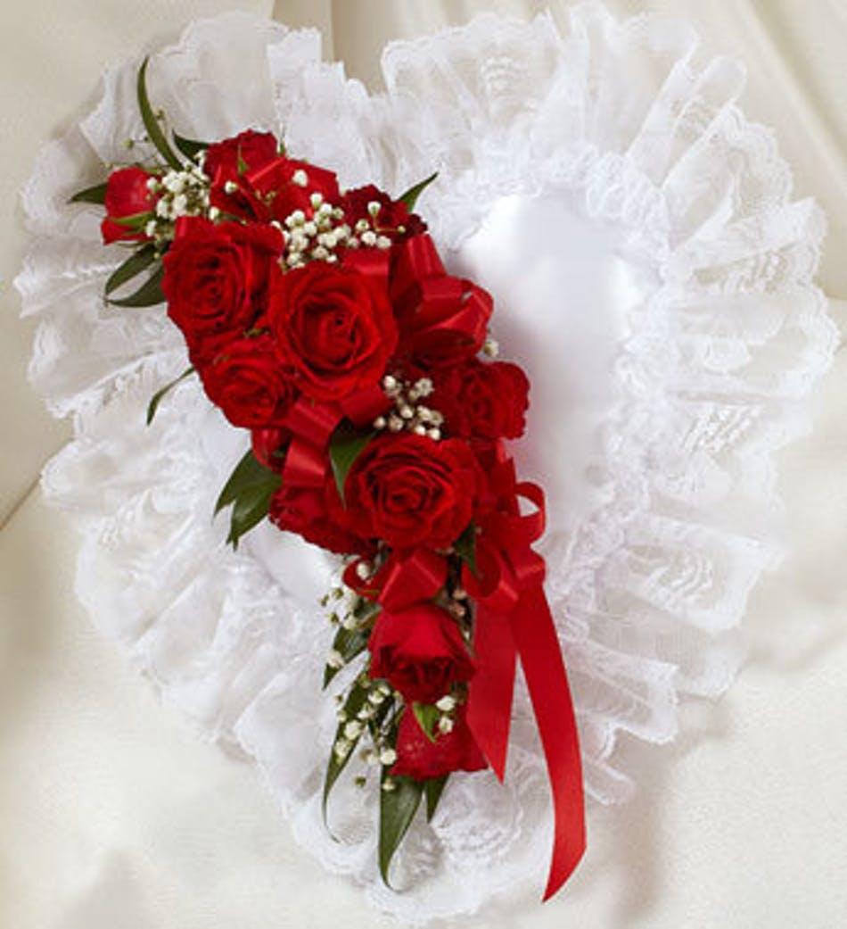 Red And White Satin Heart Casket Pillow In Boston Ma Central