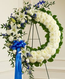 Blue & White Serene Blessings Wreath in Boston, MA