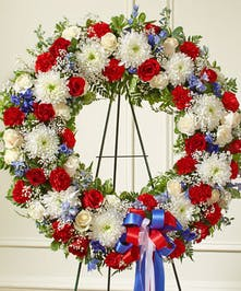 This Standing Wreath is a beautiful reflection of your love, sympathy and patriotism