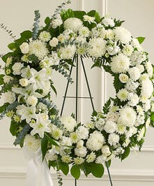 This white Standing Wreath is a tasteful reflection of the respect and compassion you wish to convey at this difficult time