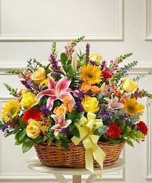 Bright Flower Sympathy Basket Boston (MA) Central Square Florist