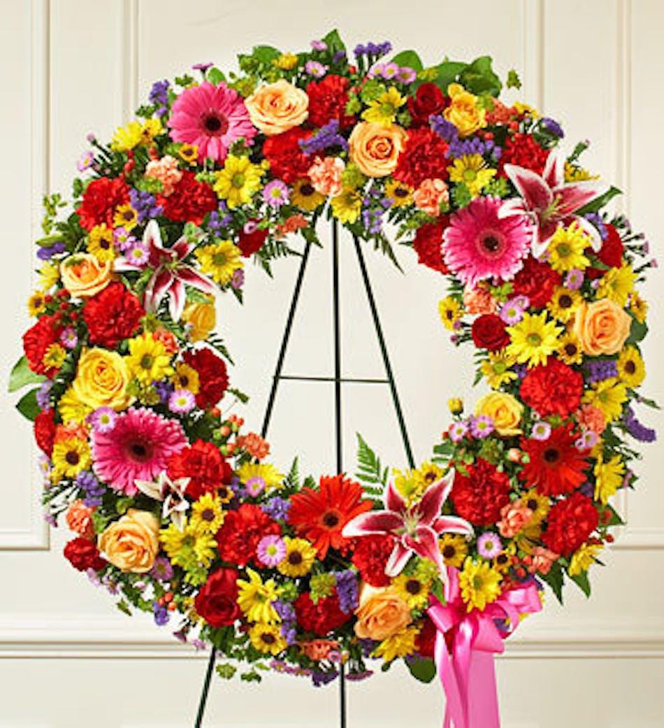 Bright Standing Wreath In Boston Ma Central Square Florist