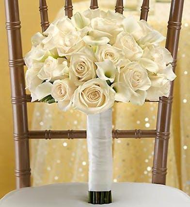 All White Bridal Bouquet Boston, MA