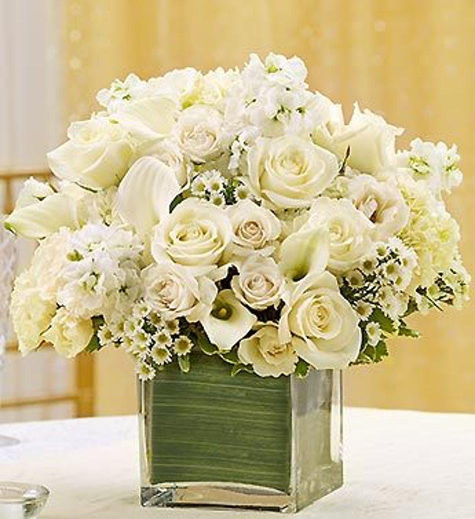 White Wedding Flowers Centerpieces: All White Cube Flower Arrangement In Boston, MA