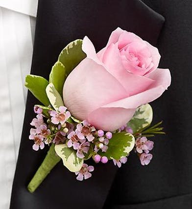 Pink Rose Boutonniere in Boston, MA