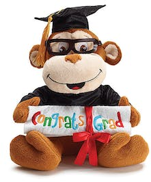 "Plush graduation monkey with ""Congrats Grad"" embroidered diploma"