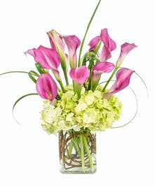 Pink calla lilies and lime green hydrangea!