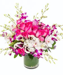 This upscale, pretty pink and purple bouquet is perfect for any girly girl!