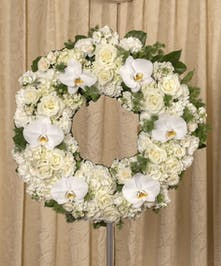 Elegant White Wreath, Boston, MA