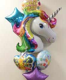 Unicorn Get Well Balloon Bouquet in Boston, MA