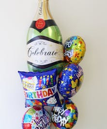 Champagne Bottle Birthday Mylar Bouquet in Boston, MA