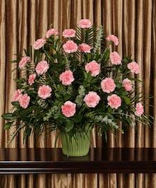 Pink Carnation Funeral Basket, Boston, MA