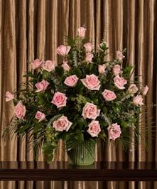 Pink Rose Funeral Basket, Boston, MA