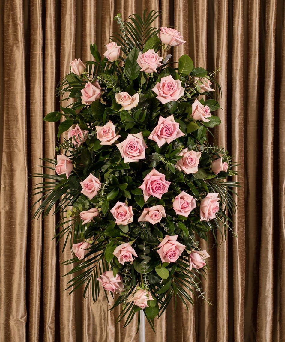Pink rose standing spray in boston ma central square florist pink rose standing spray boston ma izmirmasajfo