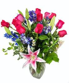 Roses, Lilies & Delphinium Arrangement