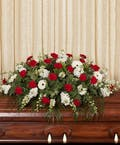 Red and White Casket Cover
