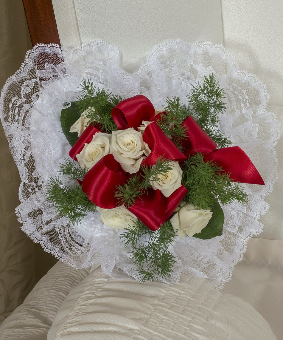 Red And White Satin Piece In Boston Ma Central Square Florist