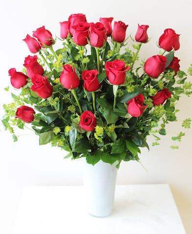 Long Stem Red Roses in White Vase in Boston, MA
