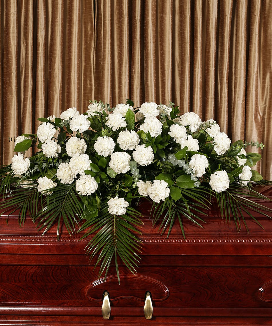 White Carnation Casket Cover in Boston, MA | Central Square Florist