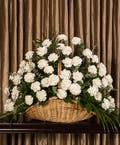 White Carnation Fireside Basket