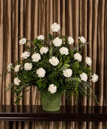 White Carnation Funeral Basket, Boston, MA