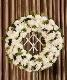 White Carnation Wreath, Boston, MA