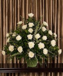 White Rose Funeral Basket, Boston, MA