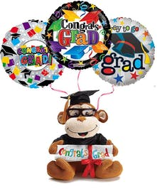 Plush Graduation Monkey With Balloons