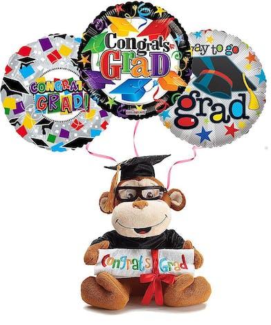 Plush Graduation Monkey With Balloons