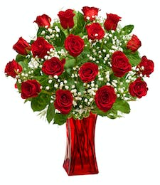 Blooming Love - Premium Red Roses in Red Vase