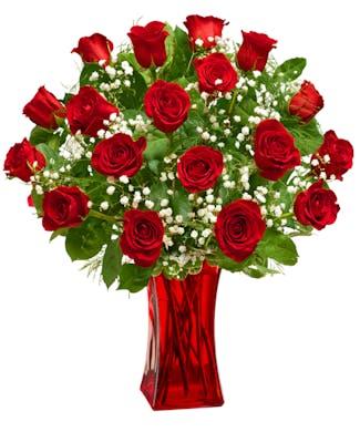 Blooming Love - Premium Red Roses in Red Vase