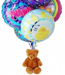 Teddy Bear with Six Mylar Balloons