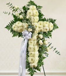 White Standing Cross with White Roses