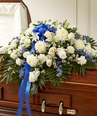Half Casket Cover - Blue & White