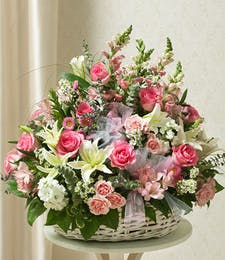 Pink & White Sympathy Arrangement in Basket