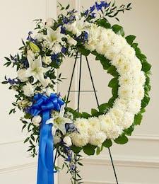 Blue & White Serene Blessings Standing Wreath
