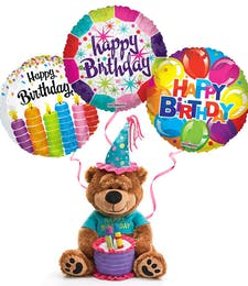 Plush Birthday Bear with Balloons