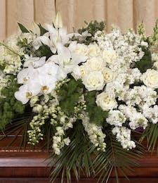 Elegant White Casket Cover