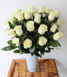 Long Stem White Roses in White Vase