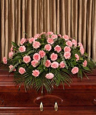 Pink Carnation Casket Cover