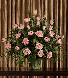 Pink Rose Funeral Basket