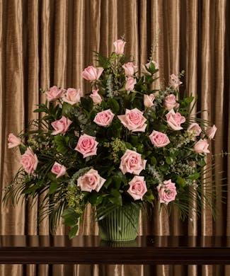Pink Rose Funeral Basket
