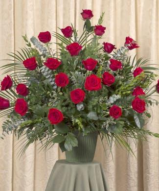 Red Rose Funeral Basket